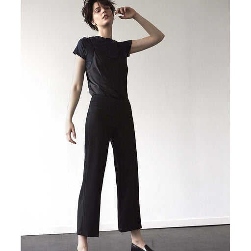 Avenue Montaigne Bellini Pull On Wide Leg Cropped  Pants | Black Polyviscose F954