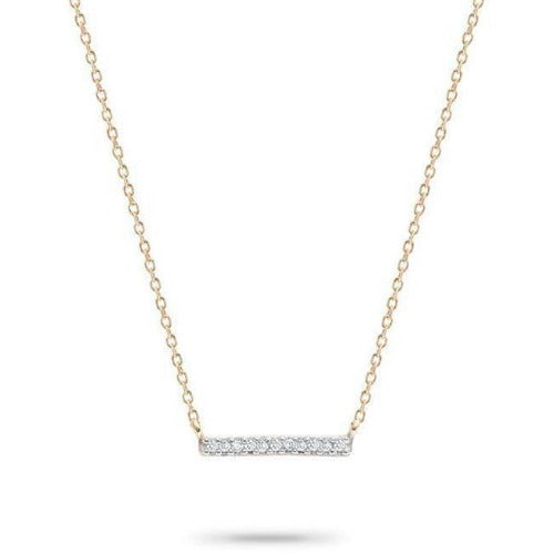 Adina Reyter Jewelry  14K Yellow Gold Pavé Bar Diamond Pendant Necklace