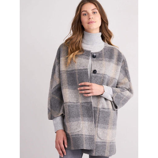 REPEAT Cashmere Grey Brushed Wool Coat Grey 800045