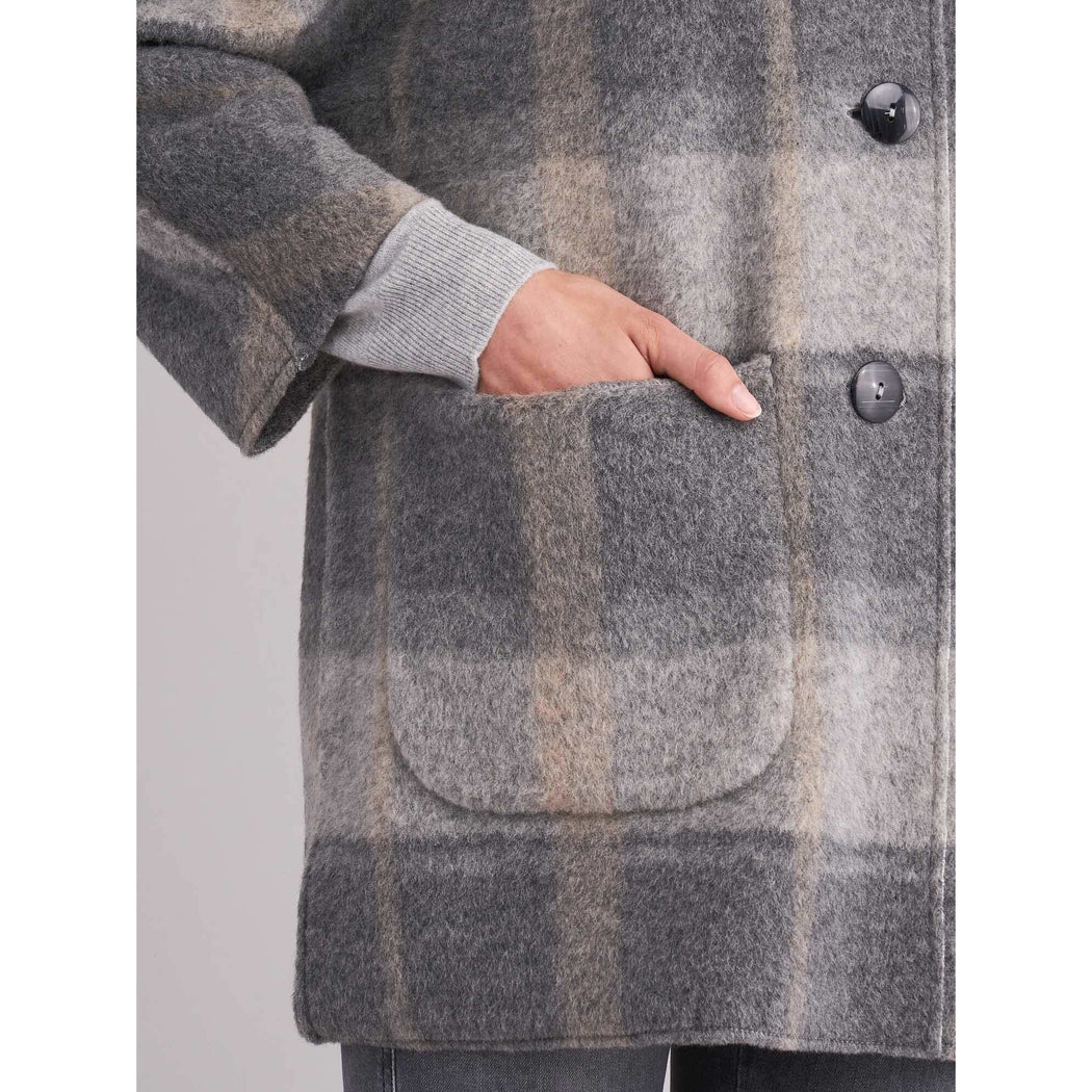 REPEAT Cashmere Grey Brushed Wool Coat Grey 800045 | Clearance Sale | Final Sale