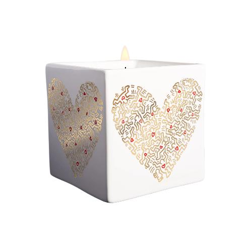 Keith Haring Gold Heart Square Candle | Shop Fragrant Candles