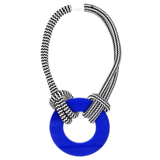 Christina Brampti Cobalt and White Reversible Necklace CB-1914x