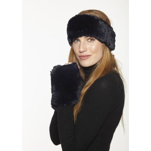Linda Richards Rex Rabbit Headband HB152 Black | Shop luxurious genuine fur accessories now |  Enjoy free shipping on all orders $100 or more.