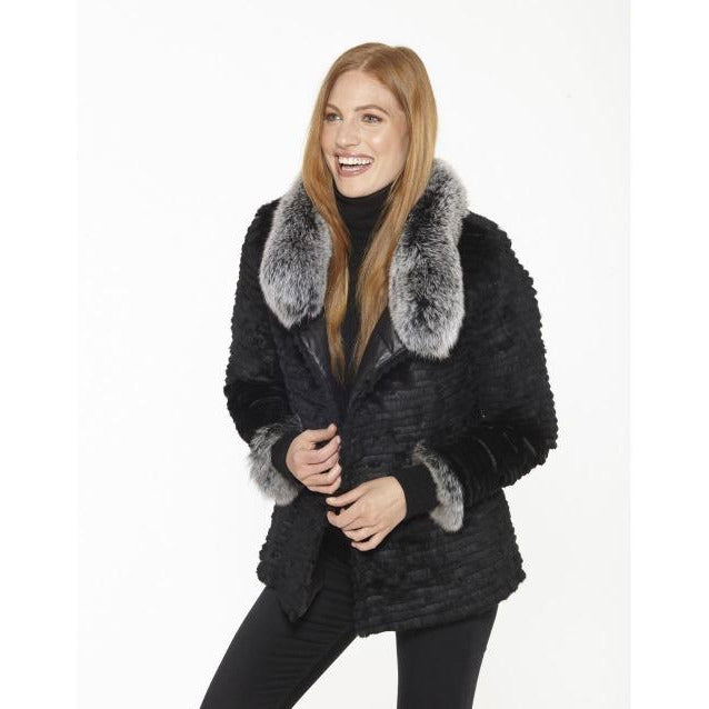 Linda Richards Reversible Button-Up Rex Rabbit Silver Fox Down Jacket 9561 | Shop Linda Richards Coats & Jackets