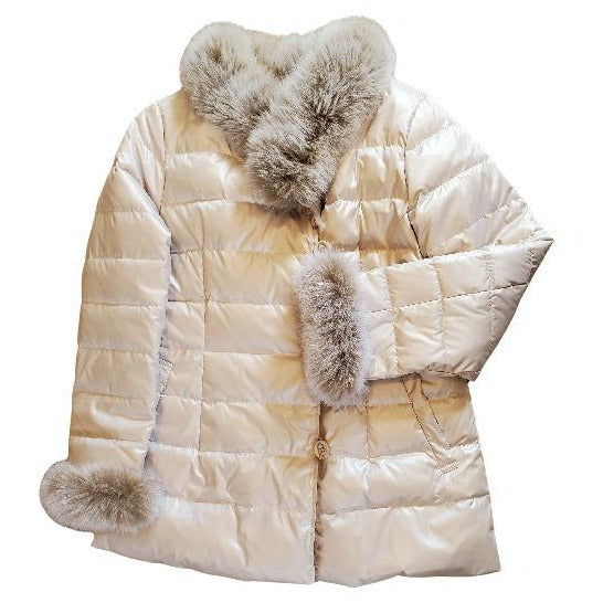 Linda Richards Reversible Button-Up Rex Rabbit Silver Fox Down Jacket 9561 Champagne