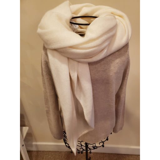 W. Cashmere Oversized Wrap/Scarf Cream