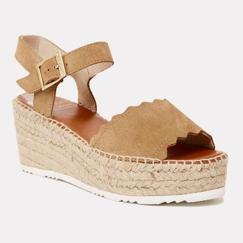 Andre Assous Cacia Suede Sandal Wedge | Light Brandy