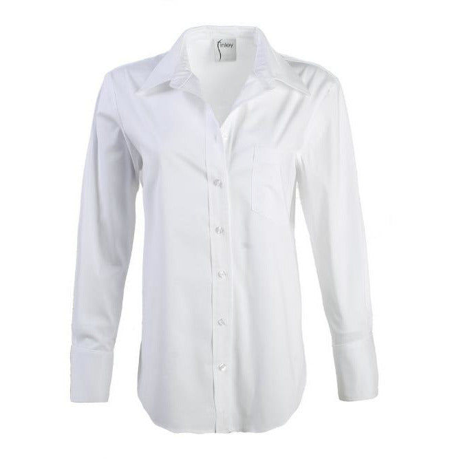Finley Shirts Alicia Solid Button Front Shirt | Silky Poplin White