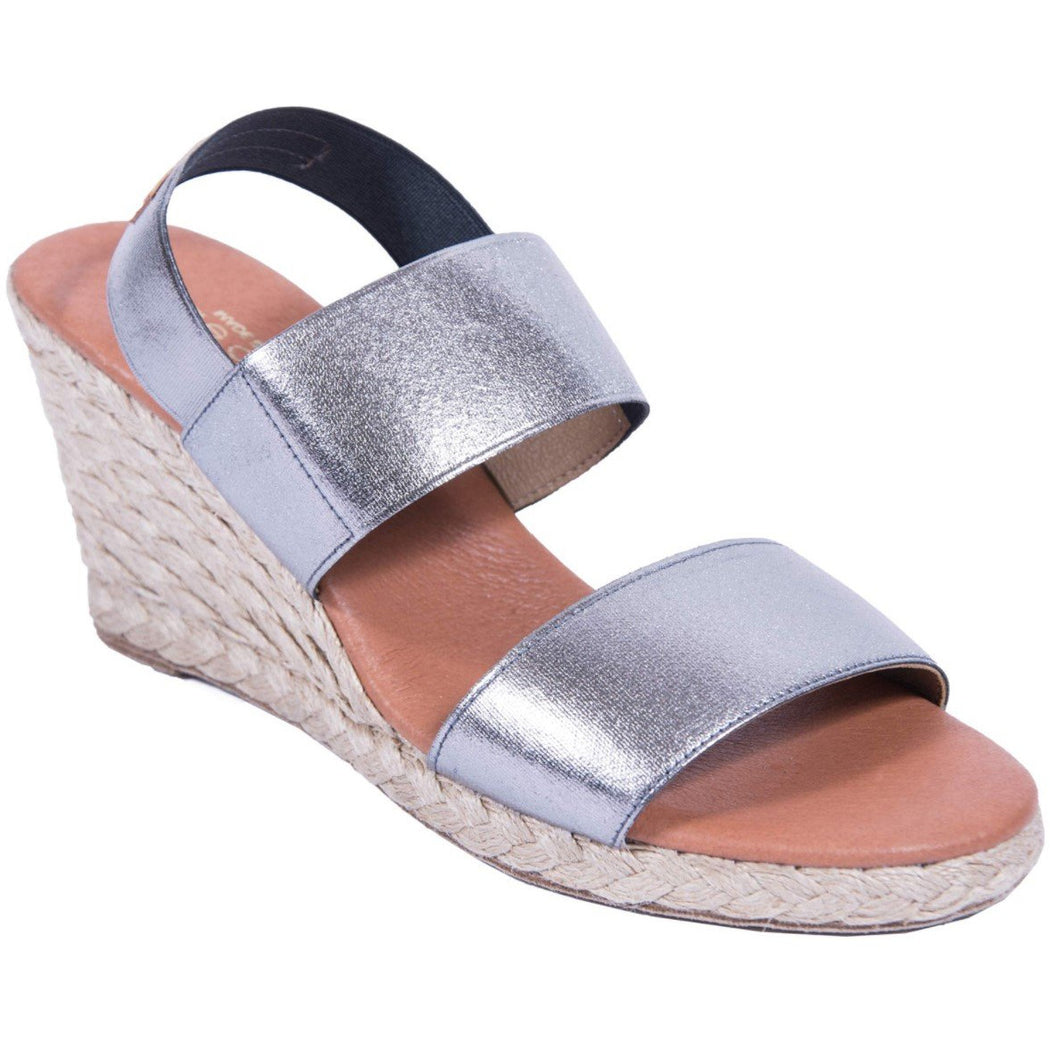 Andre Assous Allison Stretch-Strap Wedge Espadrilles | Pewter