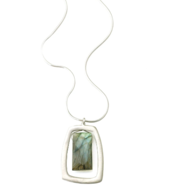 Philippa Roberts Large Rectangle With Labradorite on Silver Necklace 143-11sn