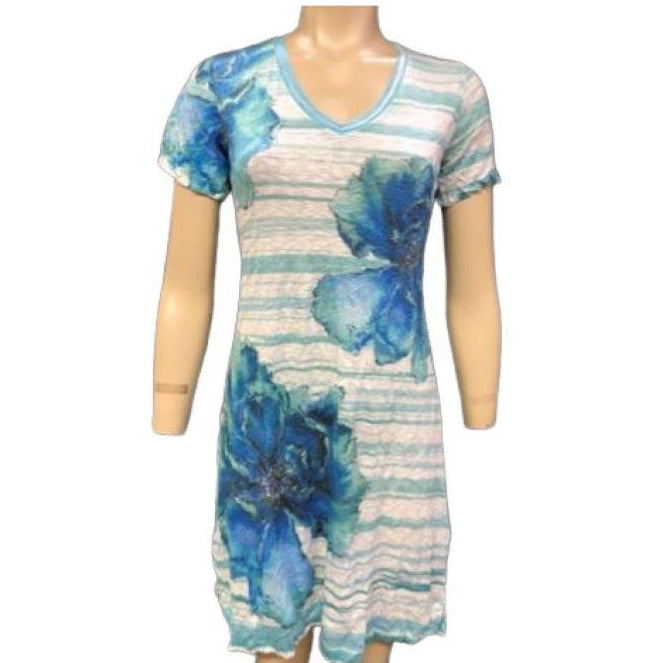 David Cline Crushed Short Sleeve V Neck Dress 6427SP