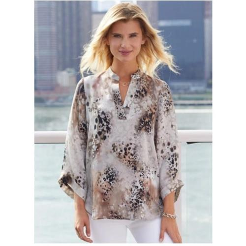 go>Go Silk Bella Tunic Shirt Animal Kingdom Print T1217