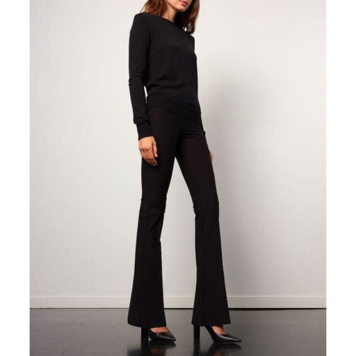 Avenue Montaigne Bellini Pull On Wide Leg Cropped  Pants | Black Crepe F1226