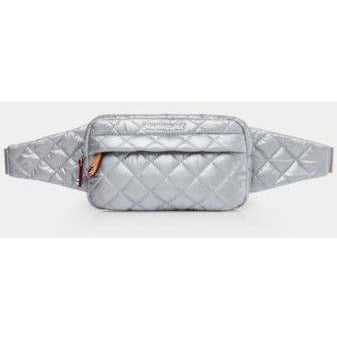MZ Wallace Metro Belt Bag Tin Metallic Quilted Nylon  | Shop MZ Wallace Travel Essentials Today