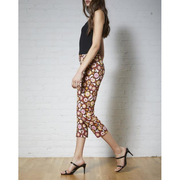 Avenue Montaigne Brigitte Pull On Cropped Pinwheel Floral Pants F`1514