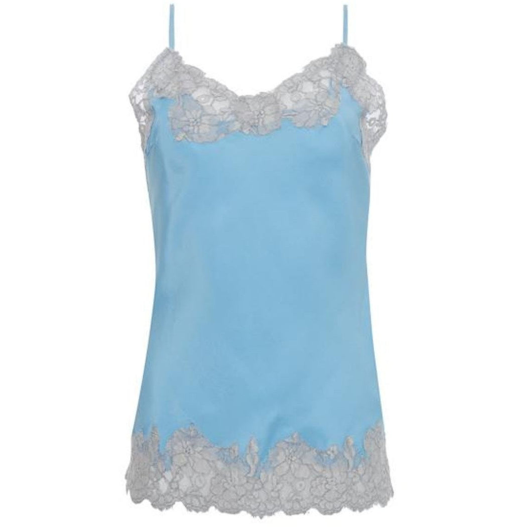 Gold Hawk Marilyn Silk and Lace Cami GH156 Baby Blue/Ice Lace