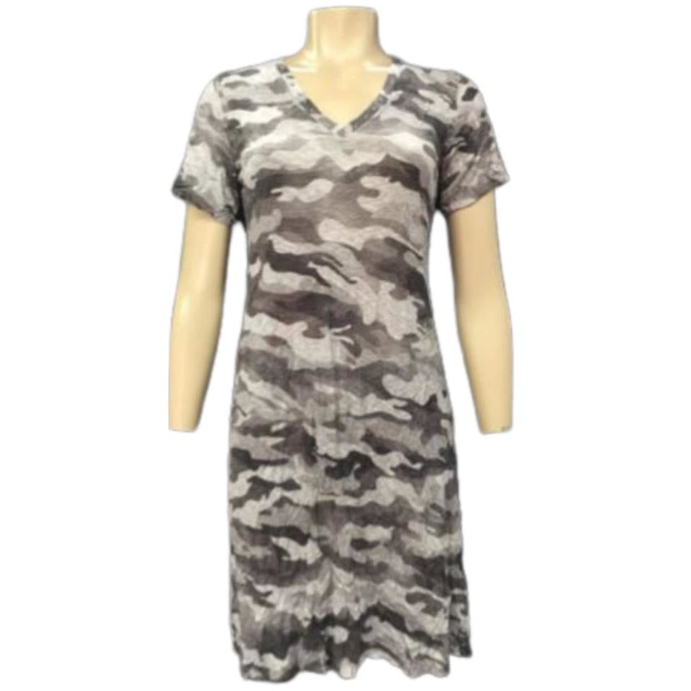 David Cline Short Sleeve V Neck Dress 6427BX | Camo