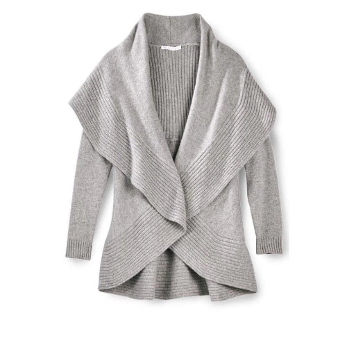 Captiva Cashmere Cashmere 2 Way Circle Cardigan | Birch | Shop 100% Cashmere by Captiva