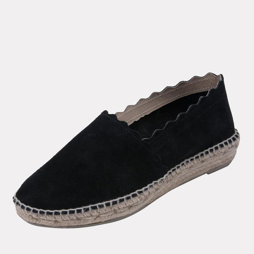 André Assous Caroline Espadrilles | Hand Sewn Wedges Made in Spain Black Suede