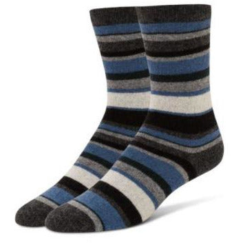 B.ELLA Althea Striped Crew Socks 0529 | Charcoal Blue Dusk