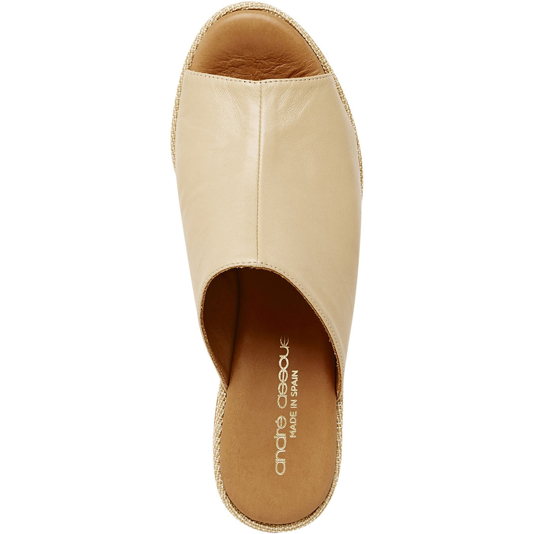 Andre Assous Clara Sandal Wedge | Beige Leather Slide