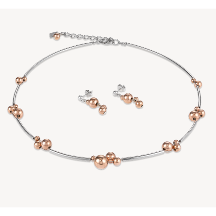 CŒUR de LION Balls Necklace Stainless Steel Rose Gold- Silver Necklace 4983101631