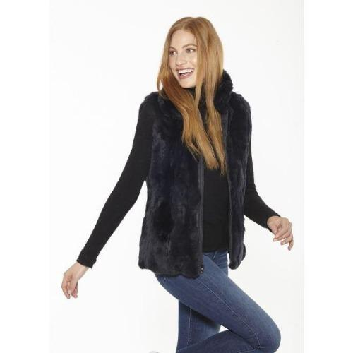 Linda Richards Rex Rabbit Reversible Vest FK260 Navy | Shop luxurious genuine fur outerwear now |  Enjoy free shipping on all orders $100 or more.