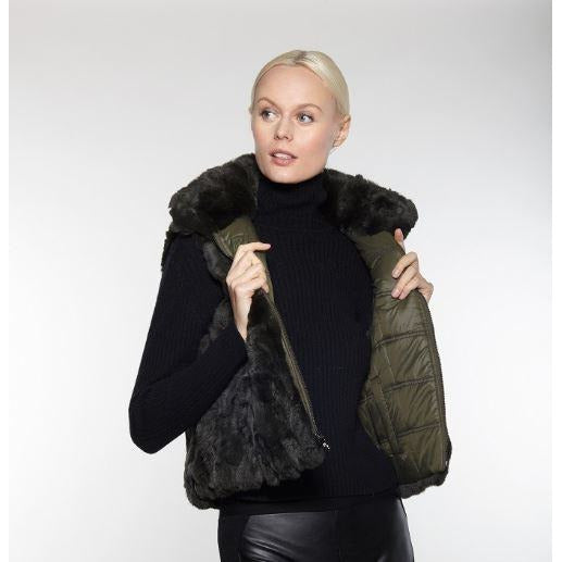 Linda Richards Rex Rabbit Reversible Vest FK260 Olive Green  | Shop luxurious genuine fur outerwear now |  Enjoy free domestic shipping on all orders $100 or more.