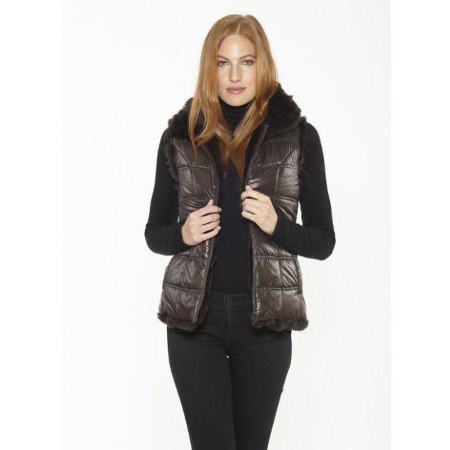 Linda Richards Rex Rabbit Reversible Vest FK260 Brown  | Shop luxurious genuine fur outerwear now |  Enjoy free shipping on all orders $100 or more.