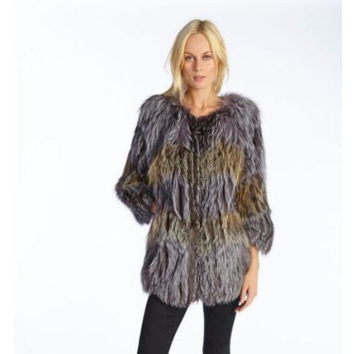 Linda Richards Golden Fox Silver Fox Sweater Coat FX118