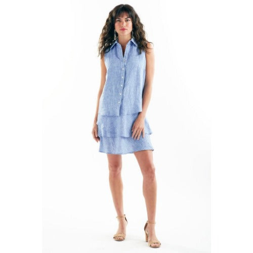 Finley Shirts Jasmine Washed Linen Button Front Ruffle Tier Dress | Blue