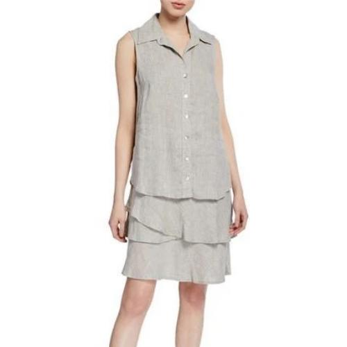 Finley Shirts Jasmine Washed Linen Button Front Ruffle Tier Dress | Natural
