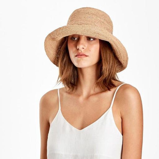 Helen Kaminski Provence10 Raffia Crochet Hat | Nougat Rollable Packable Hat