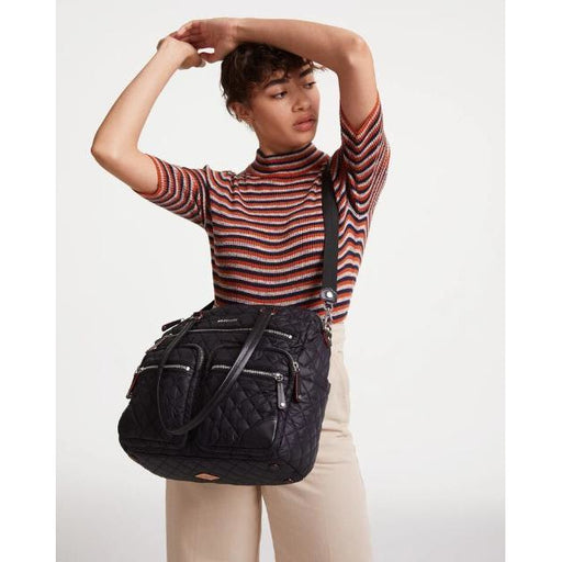 MZ Wallace Crosby City Bag | Black Quilted Top Zip | Shop MZ Wallace Now