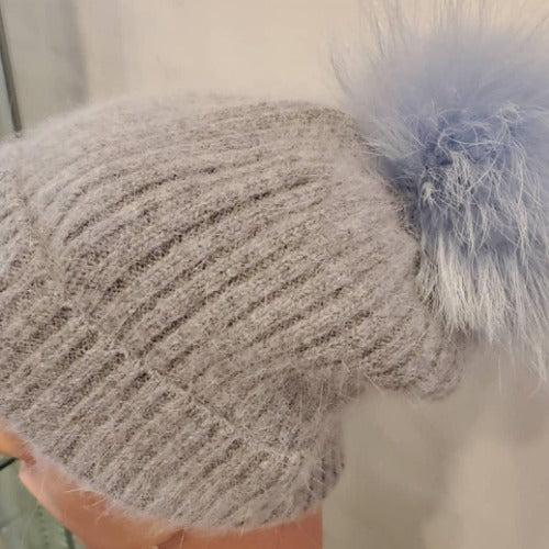 Linda Richards Wool Pom Pom Hap HA62Grey