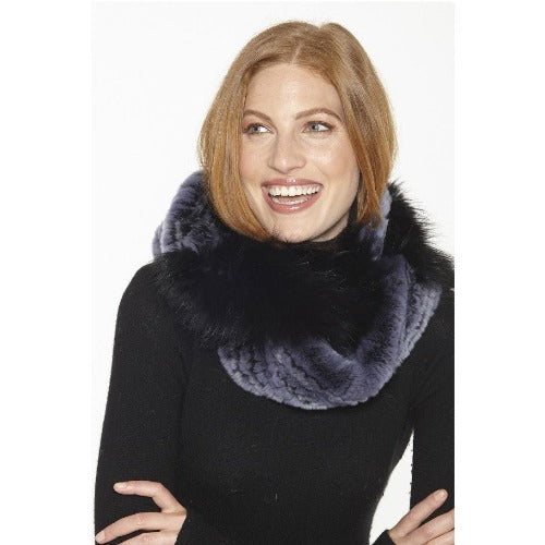 Linda Richards Combination Rex Rabbit & Fox Fur Infinity Scarf IN213  Black/Blue