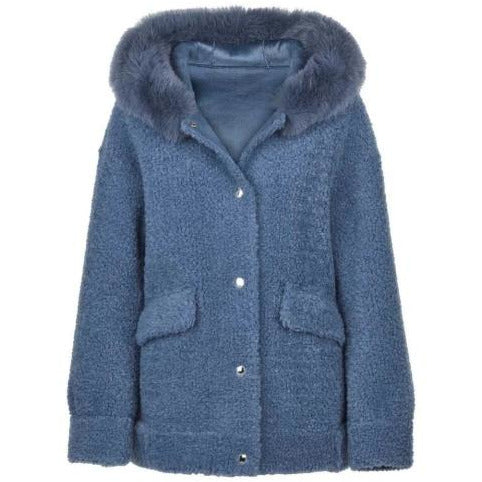 Natures Collection Isa Lambswool Fox Trim Jacket 16465 | Blue