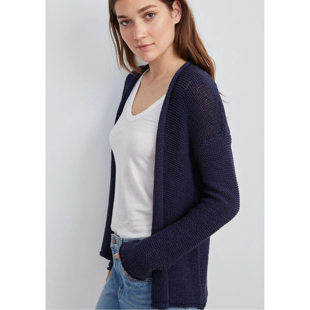 Velvet Jaz Textured Tape Yarn Open Cardigan