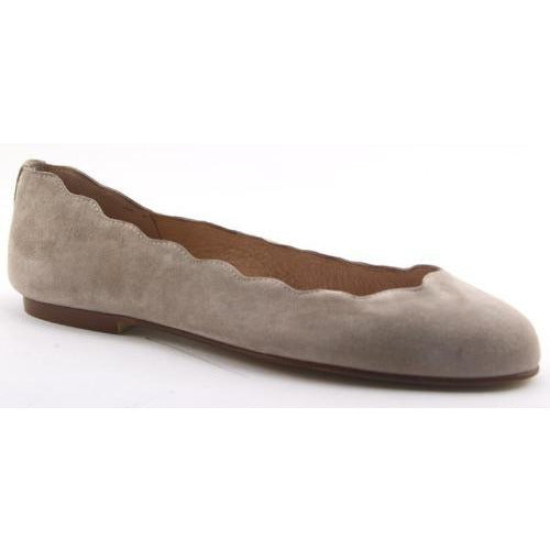 French Sole Jigsaw Leather Flats | Nude Suede
