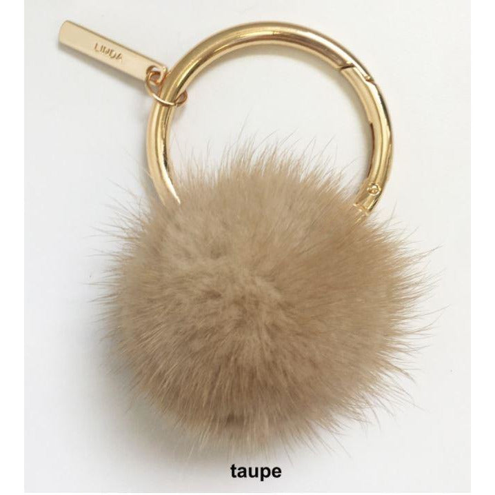 Linda Richards Mink Pom Pom Oversize Key Ring KY-004