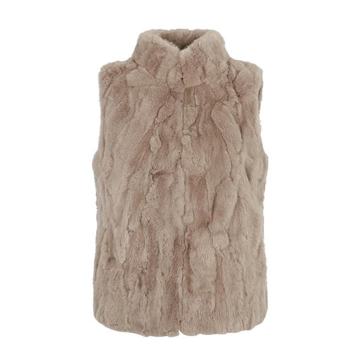 Natures Collection Katy  Rex Rabbit Fur Vest NCF1371 Simple Taupe | Clearance Sale