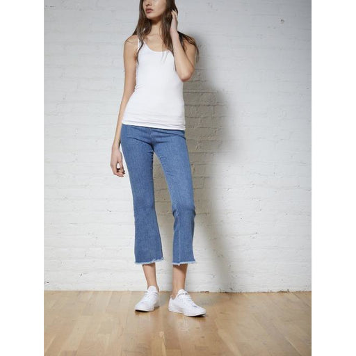 Avenue Montaigne Leo Cropped Flare Denim Pull On Pants F1236