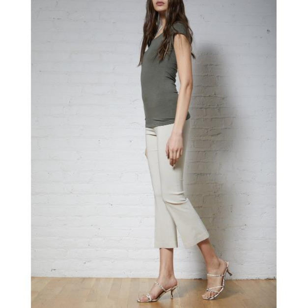 Avenue Montaigne Leo Cropped Flare Pull On Pant Polyviscose F954 | Beige