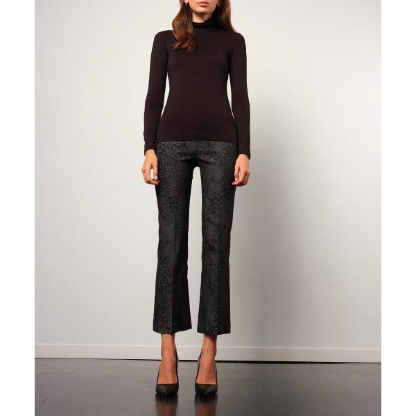 Avenue Montaigne Leo Cropped Flare Leopard Pull On Pants F1556