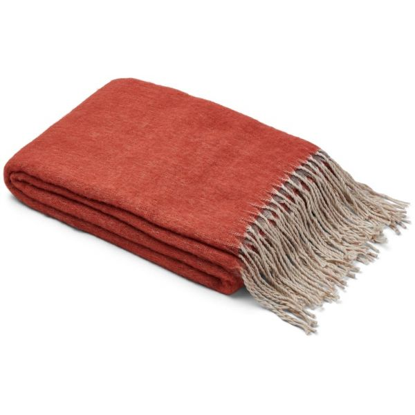 Natures Collection Double Face Wool Blend Throw Maroon/Grey