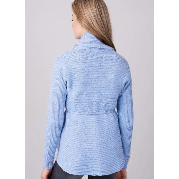 REPEAT Cashmere Cotton Open Shawl Cardigan with Belt 400304 | Med Blue