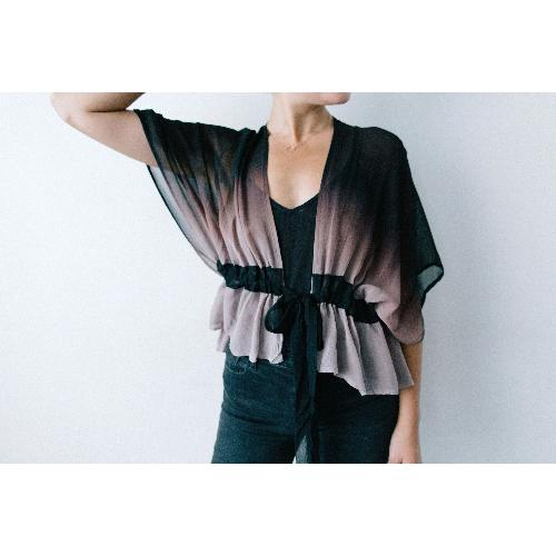 Arae Medina Silk Chiffon Gradient Top | Midnight