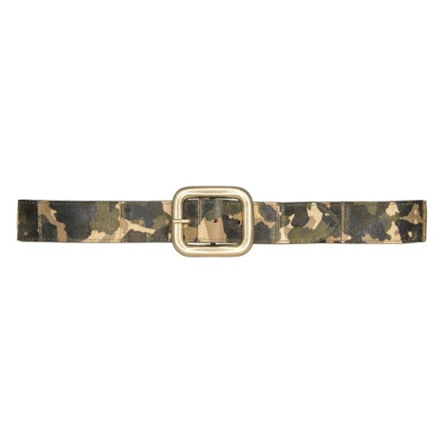 Streets Ahead Militia Patchwork Camo Print Leather Belt 18115