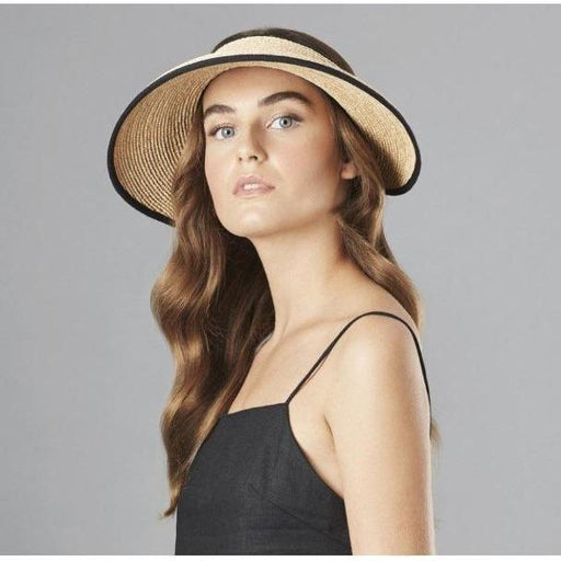 Helen Kaminski Mita Iconic Raffia Visor Natural/Midnight | Shop Raffia Visors Today