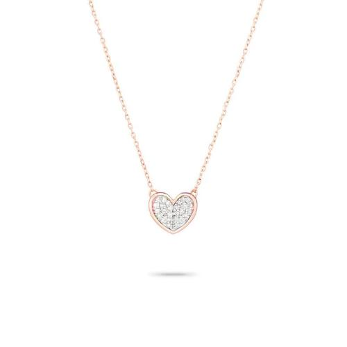 Adina Reyter Jewelry 14K Gold Tiny Pavé Folded Heart Diamond Necklace | On Model Tiny Pave Heart on right